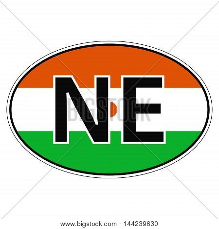 Sticker on car, flag Niger with the inscription NE vector for print or website design for language buttons