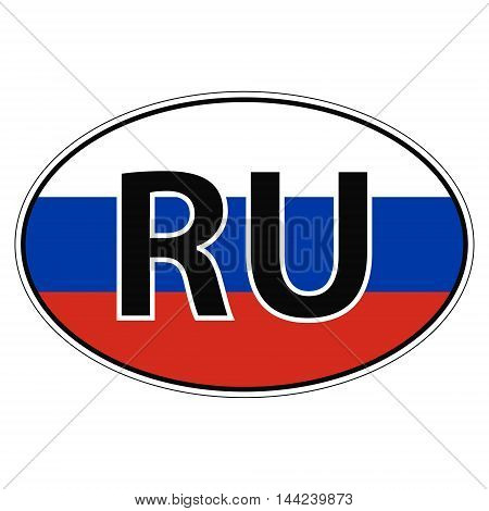 Sticker on car, flag of Russia with the inscription RU vector for print or website design for language buttons