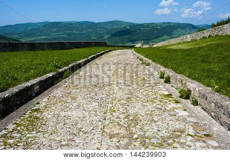 scenic view from the Apennine access road to the castle of Bovino Puglia. Italy