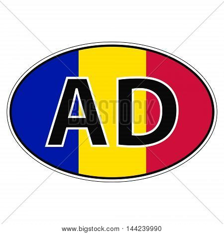 Sticker on car, flag principality Andorra with the inscription AD vector for print or website design for language buttons