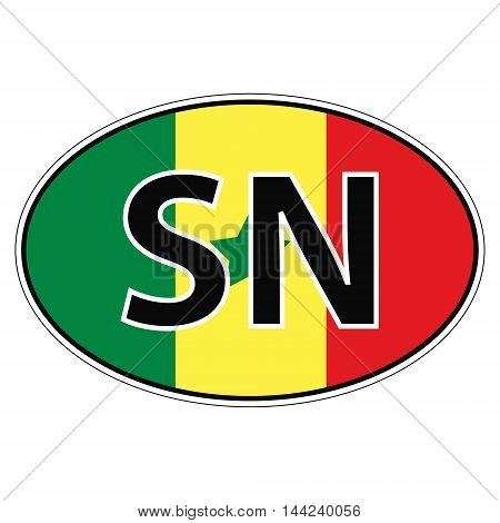 Sticker on car, flag republic  senegal with the inscription SN vector for print or website design for language buttons