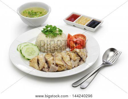 Hainanese chicken rice, singapore cuisine isolated on white background