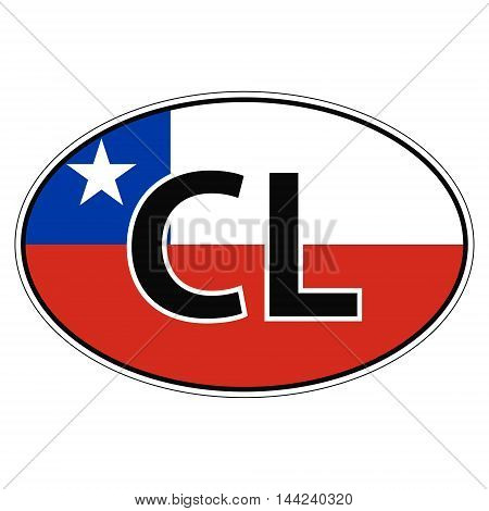 Sticker on car, flag Republic Chile the inscription CL vector for print or website design for language buttons