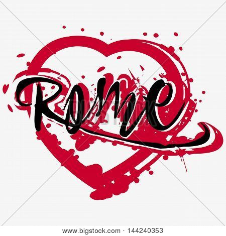 Print with lettering about Rome and deep red paint splashes in shape of heart on grey background. Pattern for fabric textiles clothing shirts. Vector illustration