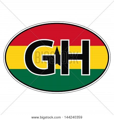 Sticker on car, flag Republic Ghana with the inscription GH vector for print or website design for language buttons