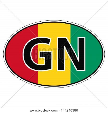 Sticker on car, flag Republic Guinea with the inscription GN vector for print or website design for language buttons