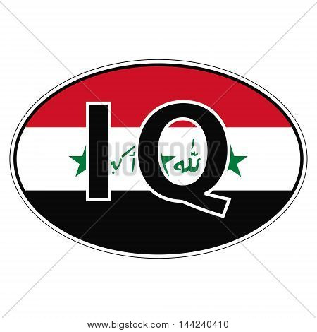 Sticker on car, flag Republic Iraq with the inscription RQ vector for print or website design for language buttons