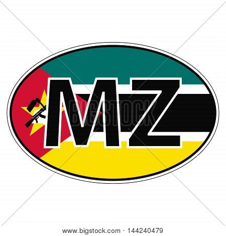 Sticker on car, flag Republic Mozambique with the inscription MZ vector for print or website design for language buttons