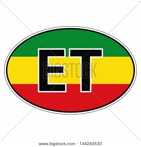 Sticker on car, flag Republic of Ethiopia with the inscription ET vector for print or website design for language buttons