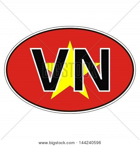 Sticker on car, flag Republic of Vietnam with the inscription VN vector for print or website design for language buttons