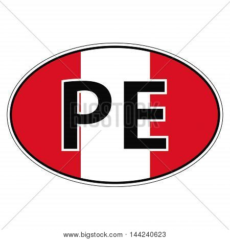 Sticker on car, flag Republic Peru with the inscription IT vector for print or website design for language buttons
