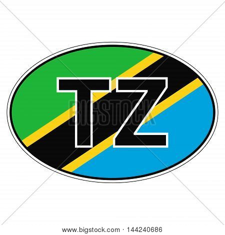 Sticker on car, flag Republic Tanzania with the inscription TZ vector for print or website design for language buttons