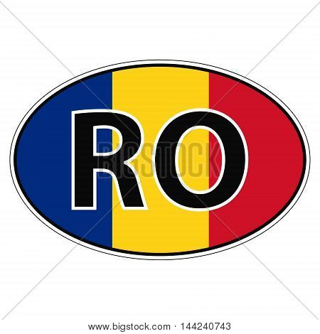Sticker on car, flag Romania, Rumania, Roumaniawith the inscription RO vector for print or website design for language buttons