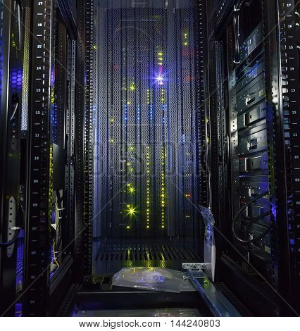 inside view of the empty rack modern supercomputer data center