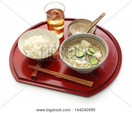 hiyajiru( cold miso soup ) with barley rice, japanese summer cuisine