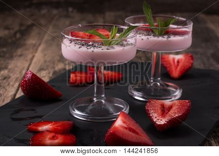 Healthy Breakfast Or Morning Snack With Chia Seeds Strawberries Yogourt Vegetarian Food, Diet And He