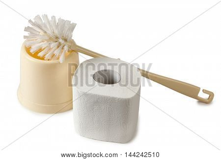 Toilet brush on a white background