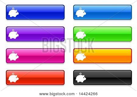 Piggy Bank Icon on Long Button Collection Original Illustration
