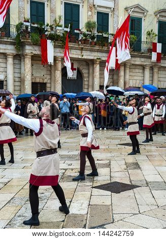 Altamura Italy - April 25 2016: performance by a group of flag wavers. Fifth edition of