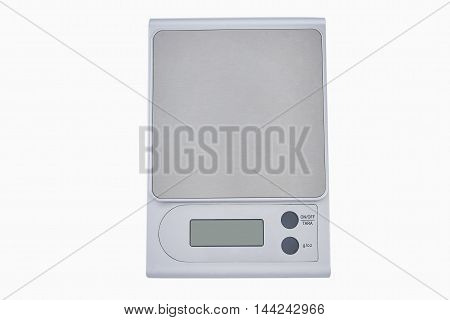 electronic kitchen scales on the white background isolated
