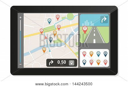 Gps navigation device and city map with pins and icons technology and travelling concept