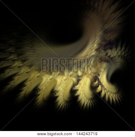 Fractals, fantastic yellow abstract nebula on a black background