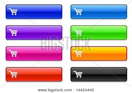 Shopping Cart Icon on Long Button Collection Original Illustration