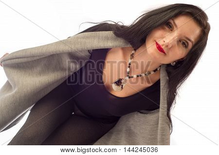 The Girl In A Fur Cape, Gray Stockings, Black Boots