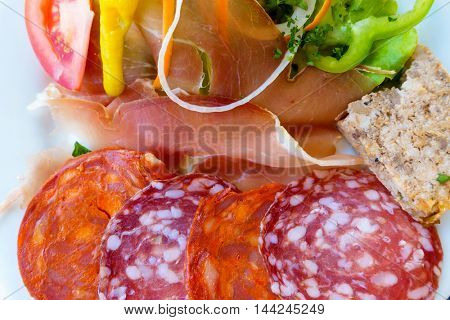 French charcuterie and salad plate