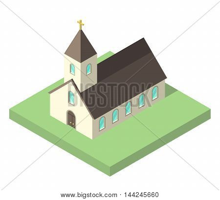 Beautiful small isometric church on green ground isolated on white. Christianity religion and faith concept. Flat design. EPS 8 vector illustration no transparency