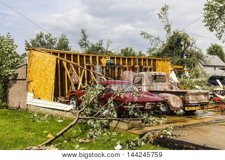 Kokomo - August 24 2016: Several EF3 tornadoes touched down in a residential neighborhood causing millions of dollars in damage. This is the second time in three years this area has been hit by tornadoes 9