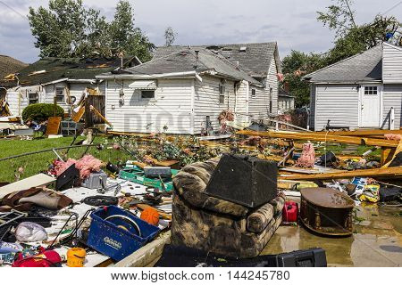 Kokomo - August 24 2016: Several EF3 tornadoes touched down in a residential neighborhood causing millions of dollars in damage. This is the second time in three years this area has been hit by tornadoes 13