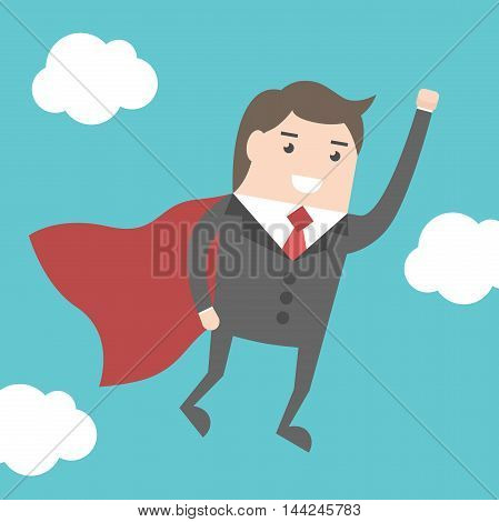Super Businessman Flying