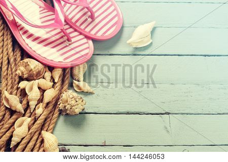 Summer Concept With Sandy Beach, Shells And Cord.