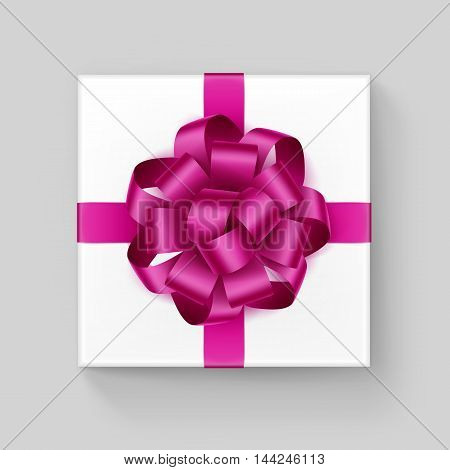 Vector White Square Gift Box with Shiny Magenta Dark Pink Ribbon Bow Close up Top view Isolated on Background