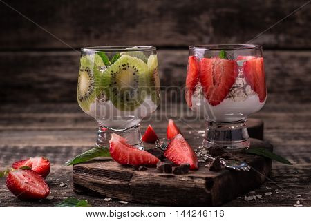 Healthy Breakfast Or Morning Snack With Chia Seeds Granola, Strawberries And Kiwi, Vegetarian Food,