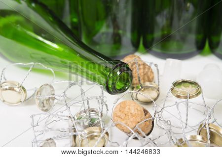 Corks of a bottle of champagne background. Packing production. Alcoholic production
