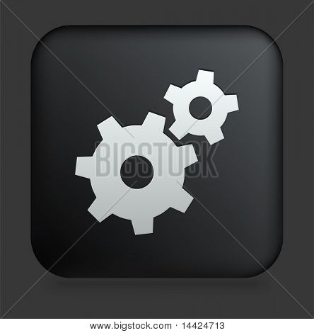 Gear Icon on Square Black Internet Button Original Illustration