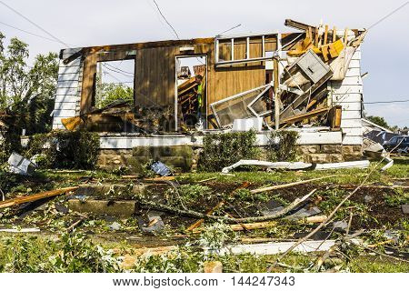 Kokomo - August 24 2016: Several EF3 tornadoes touched down in a residential neighborhood causing millions of dollars in damage. This is the second time in three years this area has been hit by tornadoes 33