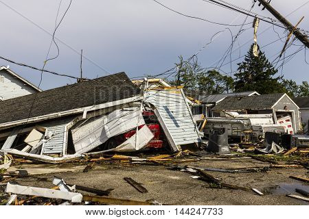 Kokomo - August 24 2016: Several EF3 tornadoes touched down in a residential neighborhood causing millions of dollars in damage. This is the second time in three years this area has been hit by tornadoes 42