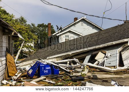 Kokomo - August 24 2016: Several EF3 tornadoes touched down in a residential neighborhood causing millions of dollars in damage. This is the second time in three years this area has been hit by tornadoes 43