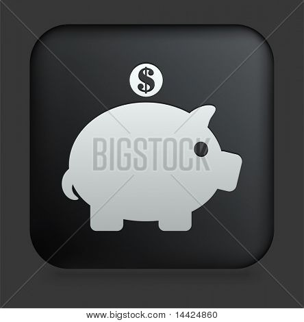 Piggy Bank Icon on Square Black Internet Button Original Illustration