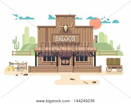 Wild west saloon. Cowboy and western, old building town, sheriff vector illustration