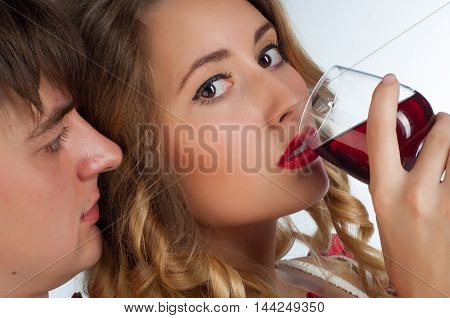 Bride Drinking Wine