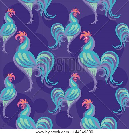 Seamless pattern with the image of a Rooster.