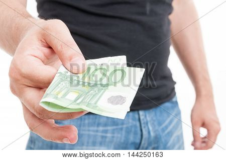 Male Hand Giving One Hundred Euro