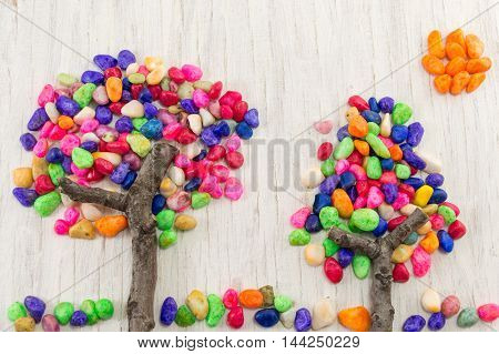 Colorful Rocks Forming A Tree Shape