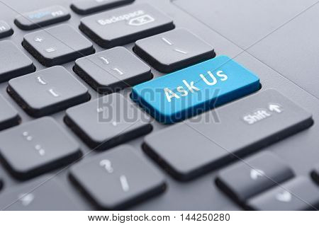 Blue Ask Us Button On Keyboard Concept