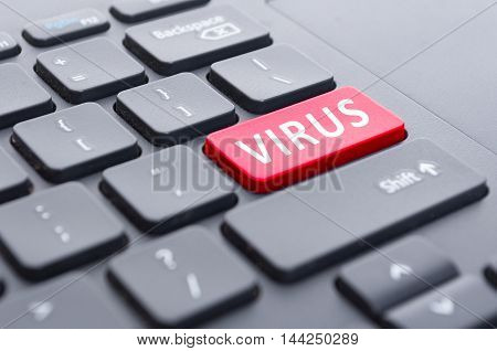 Red Virus Button On Keyboard Concept