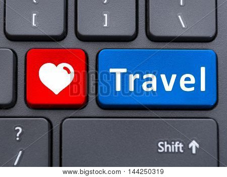 Travel And Heart Symbol Text Buttons On Keyboard